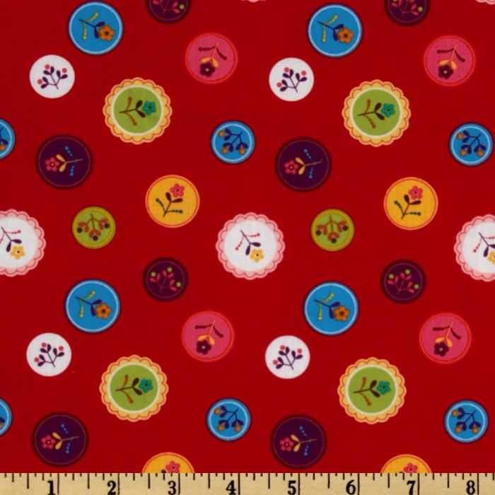 Little Kukla Floral Buttons Bright Red