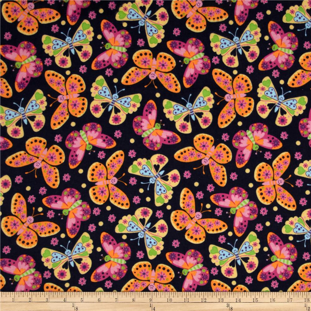 Flannel Tossed Butterflies Navy