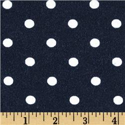 Stretch Rayon Jersey Knit Polka Dots Navy/White