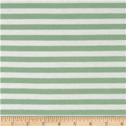 Jersey Knit Small Seafoam Stripe White