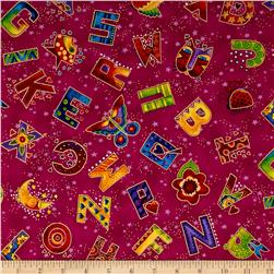 Laurel Burch Laurel Land Metallic Tossed Letters Dark