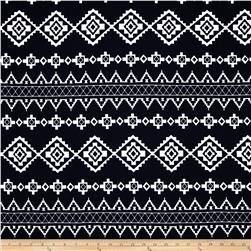 Cotton Spandex Jersey Knit Geometric Aztec Navy/White
