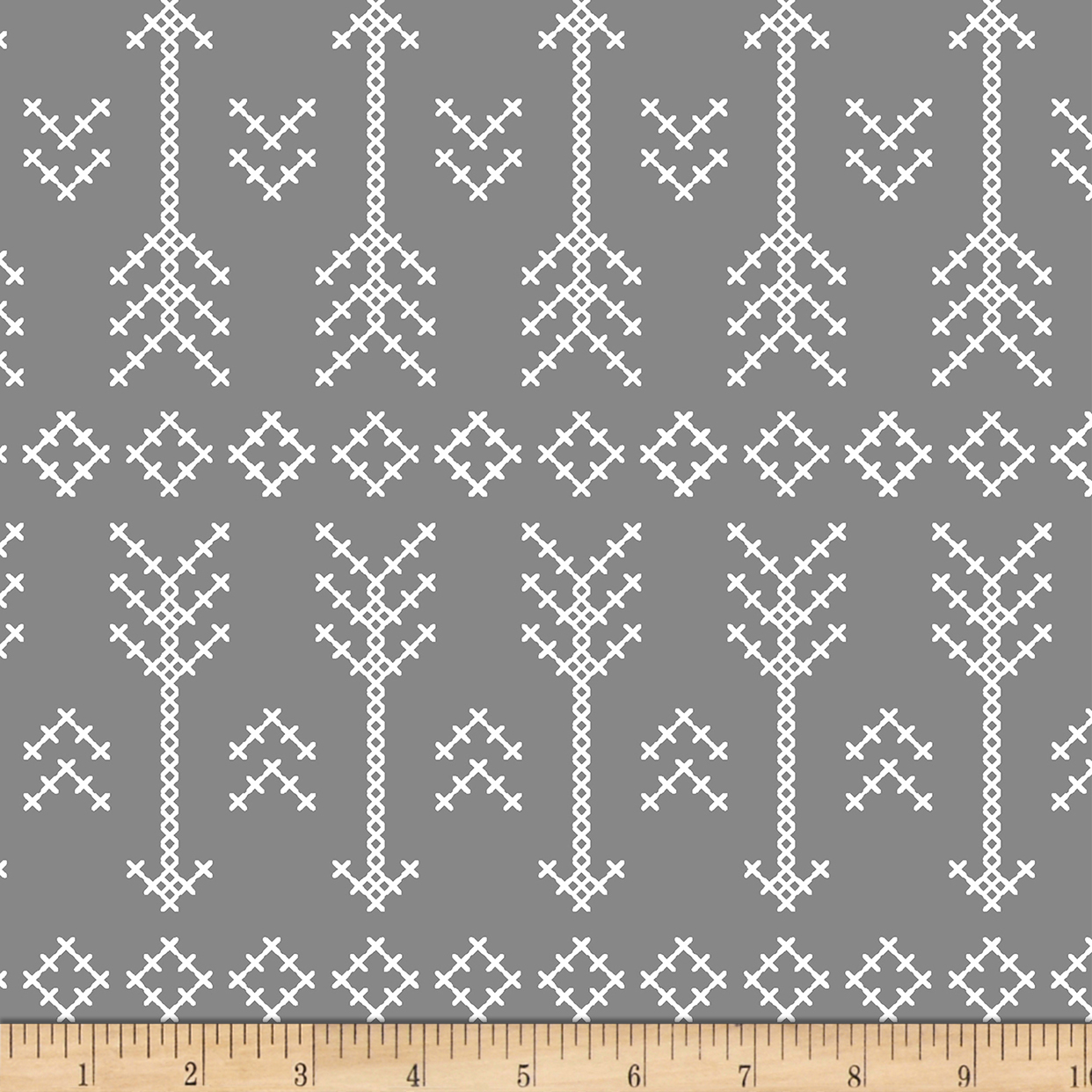 Image of Bolt By Girl Charlee Desert Sky Jersey Knit Stitched Arrow Gray Fabric