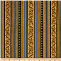 Timeless Treasures Nativity Filigree Stripe Gold