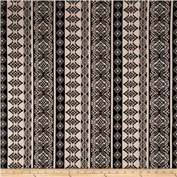 Double Brushed Printed Jersey Knit Aztec Stripe Black/Cream