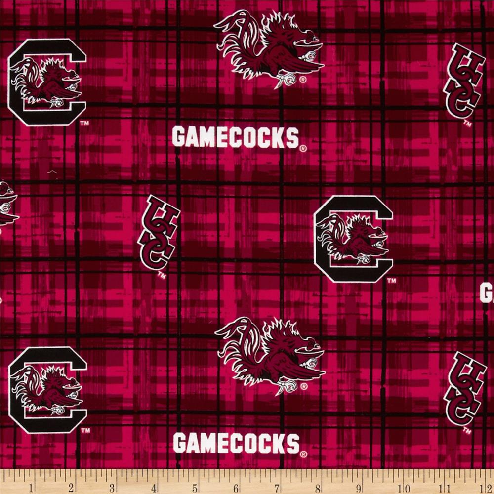 Collegiate Cotton Broadcloth University of South Carolina Plaid Red