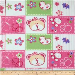 Fleece Animals & Flowers Pink/White