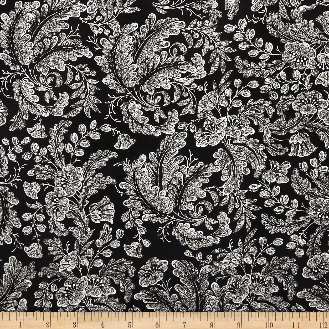 Alchemy Metallic Floral Black/Silver Fabric