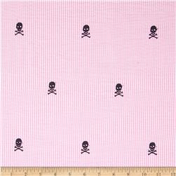 Embroidered Seersucker Skullls Pink