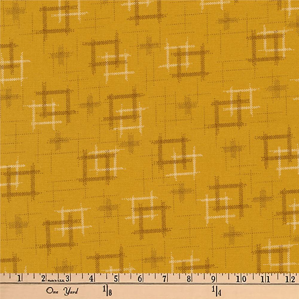 Kaufman Kasuri Hash Plaid Gold