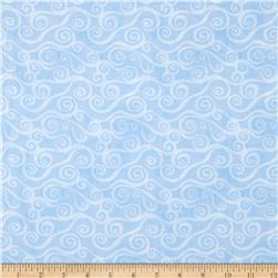 Essentials Swirly Scroll Sky Blue Fabric