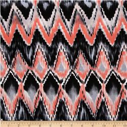 Spandex ITY Jersey Knit Ikat Abstract Black/Coral/Grey Fabric