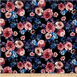 Double Brushed Poly Spandex Jersey Knit Beautiful Blooms Black/Blue Violet