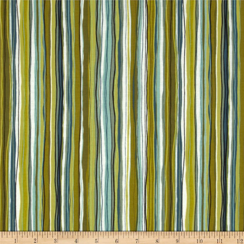 Contempo Dwellings Wavy Pencil Stripe Green