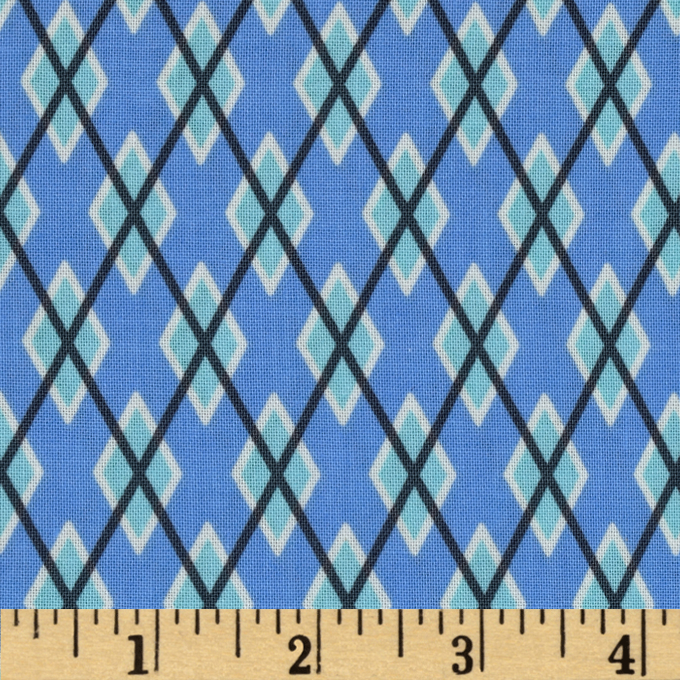 Michael Miller Argyle Me Blue Fabric