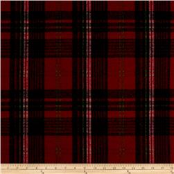 Brushed Wool Blend Plaid Red/Black/Green