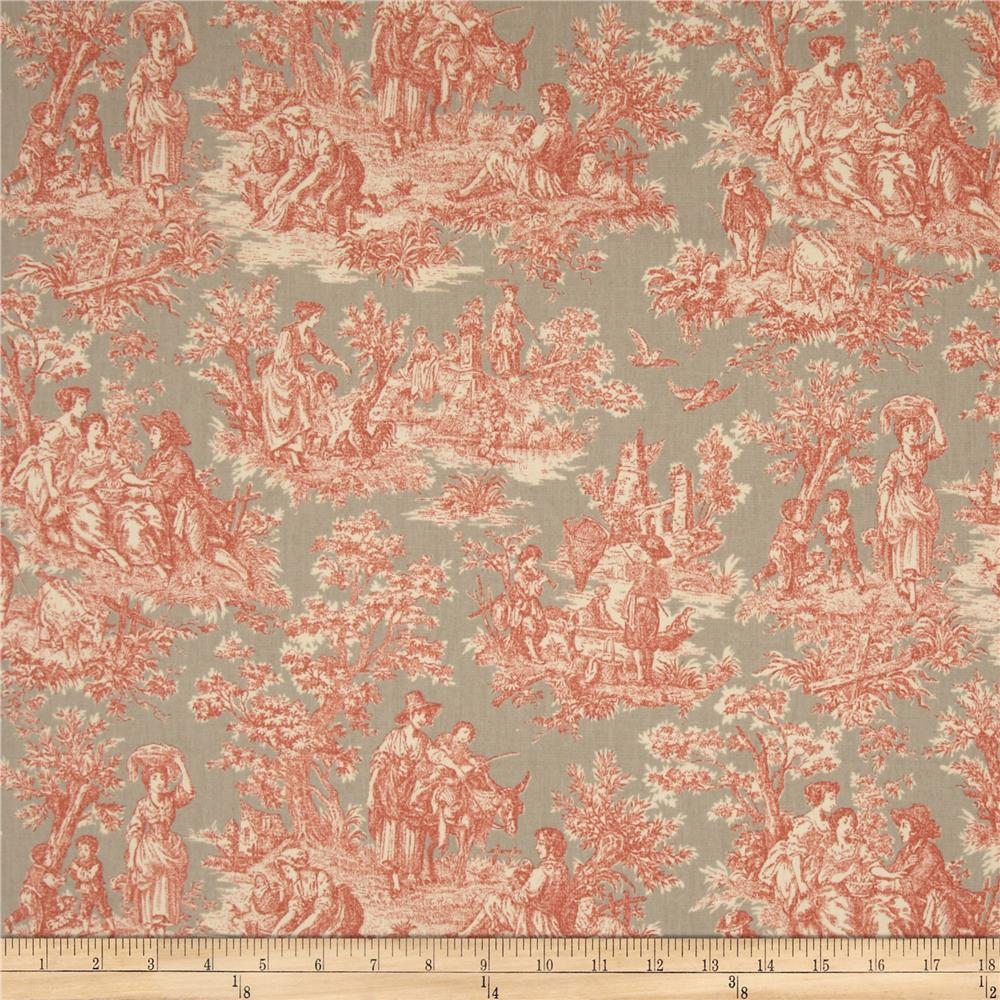 Waverly Charmed Life Toile Clay Discount Designer Fabric