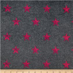 Minky Stars Faded Black/Hot Pink Fabric