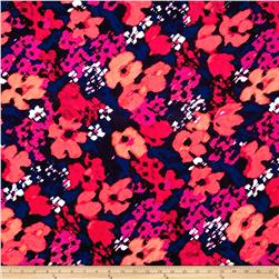 International Designer Woven Cotton Floral Pink/Black/Orange