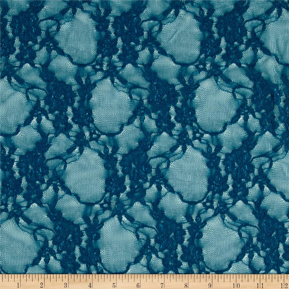 Giselle Stretch Floral Lace Teal Fabric By The Yard