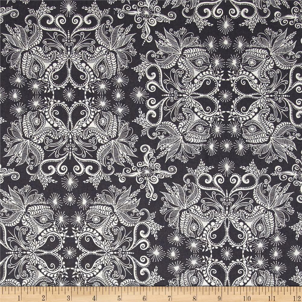 Kaufman In the Bloom Abstract Flowers Charcoal