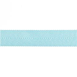 "May Arts 1 1/2"" Chevron Twill Ribbon Spool Turquoise"
