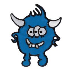 Monster with Horns Applique Blue
