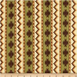 Timber Lodge Flannel Geo Stripe Forest Green