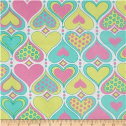 Flannel Pastel Hearts White/Multi