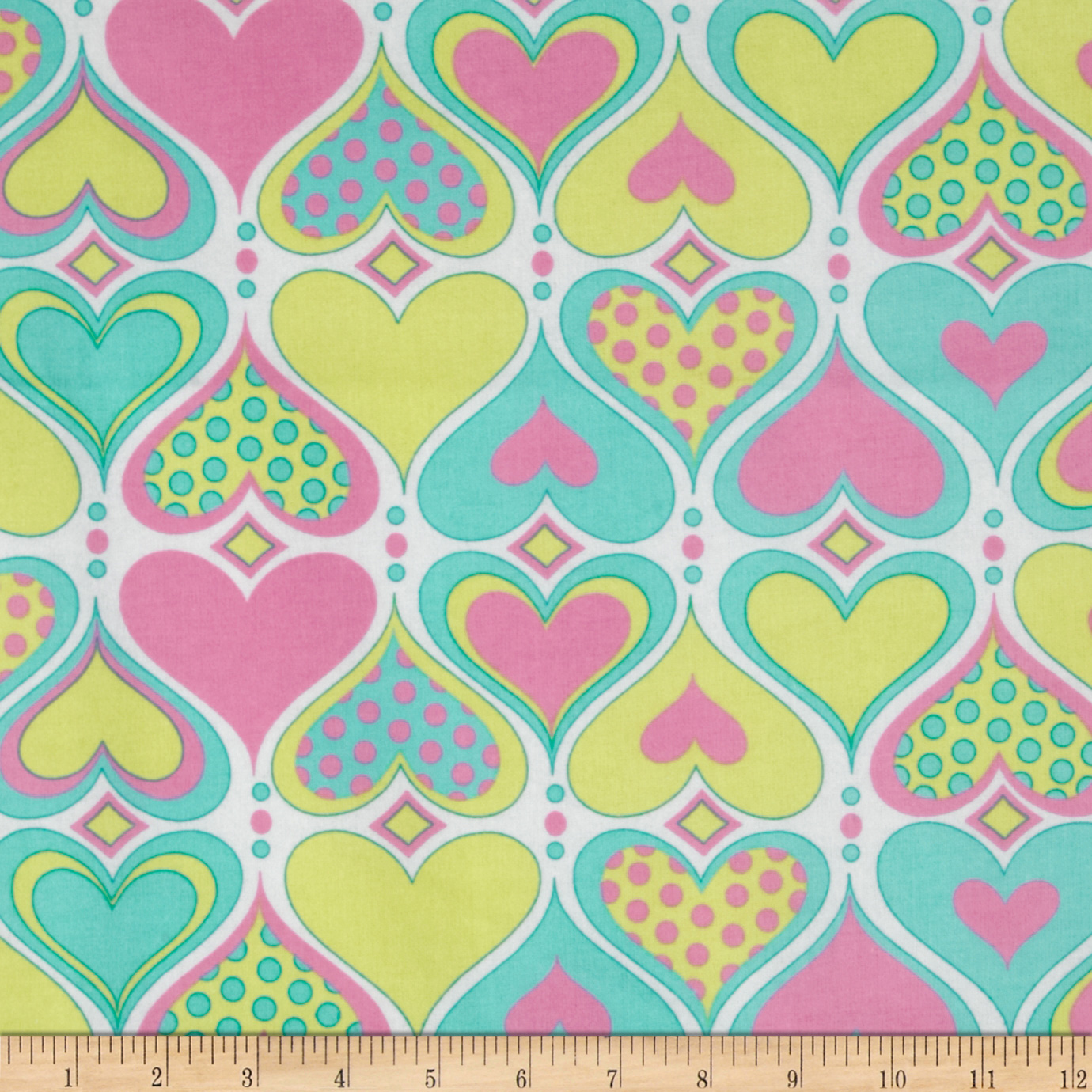 Flannel Pastel Hearts White/Multi Fabric