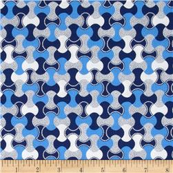 Sing the Blues Geometric White/Blue Fabric
