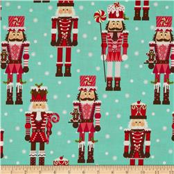 Michael Miller Holiday Santa's Farm Nutcrackers Aqua Fabric