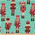 Michael Miller Holiday Santa's Farm Nutcrackers Aqua