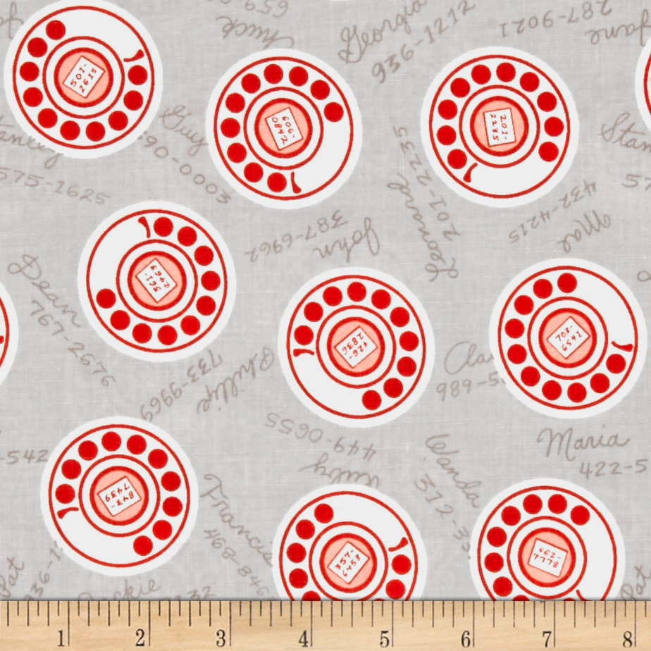 Image of Cotton + Steel Rotary Club Dials Neutral Fabric