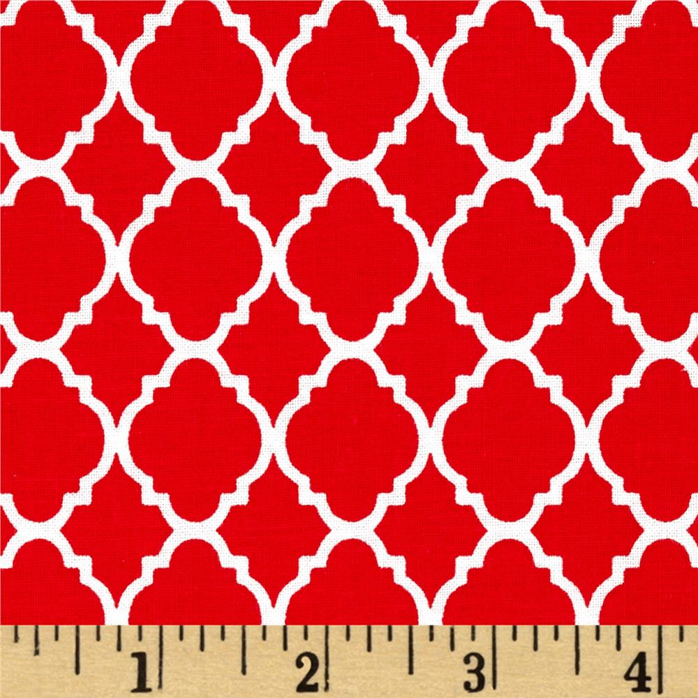 Petit Quatrefoil Red/White Fabric