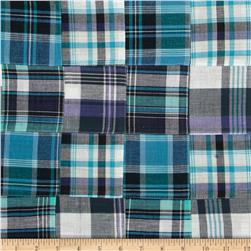 Madras Plaid Patchwork Navy/Aqua/White