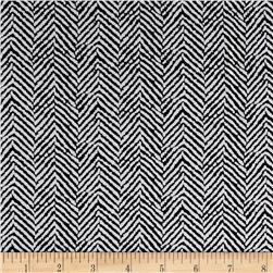 Rayon Challis Abstract Herringbone Black/White