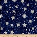 Kaufman Radiant Holiday Metallic Stars Navy