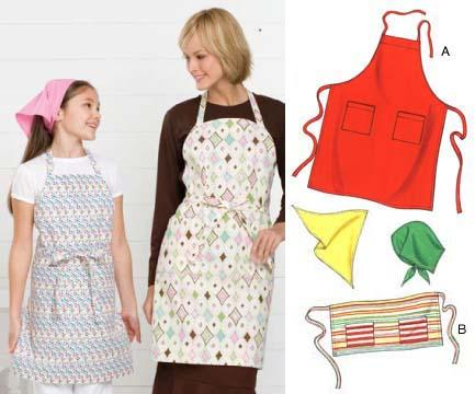 Kwik Sew Adult & Children Aprons & Scarf Pattern
