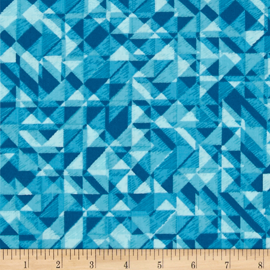 108 In. Quilt Wide Back Prisms Turquoise Fabric by Studio E in USA