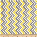 Charmeuse Satin Zig Zag Lemon/Silver/White