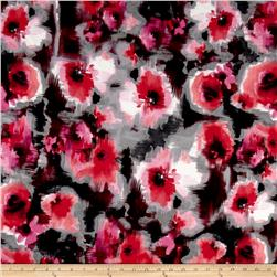 Watercolor Floral Techno Scuba Black/Fuschia