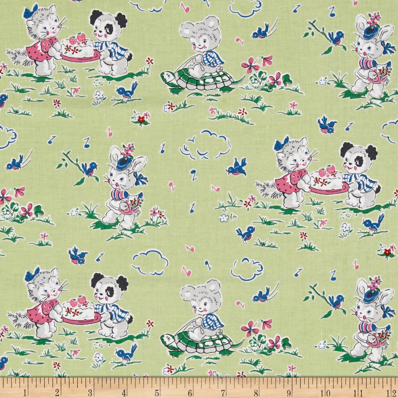 Penny Rose Strawberry Biscuit Playdate Green Fabric by Christensen in USA