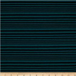 Designer Yarn Dyed Jersey Knit Shadow Stripe Emerald/Black