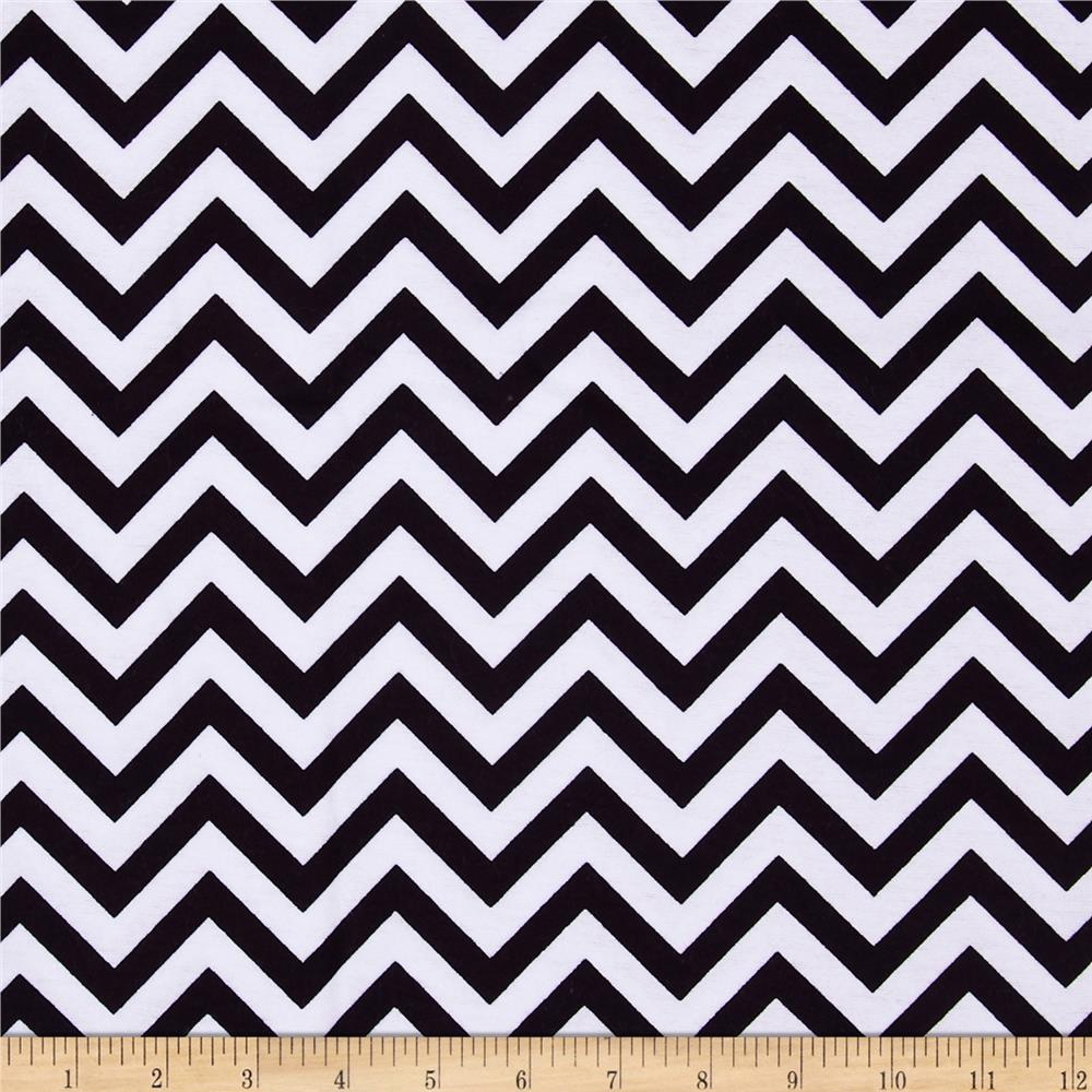 Flannel Chevron Black/White Fabric By The Yard