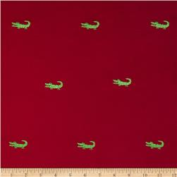 Embroidered 21 Wale Corduroy Alligator Red/Green