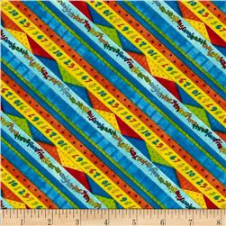 Kitten Capers Numbers Diagonal Stripes Blue/Multi