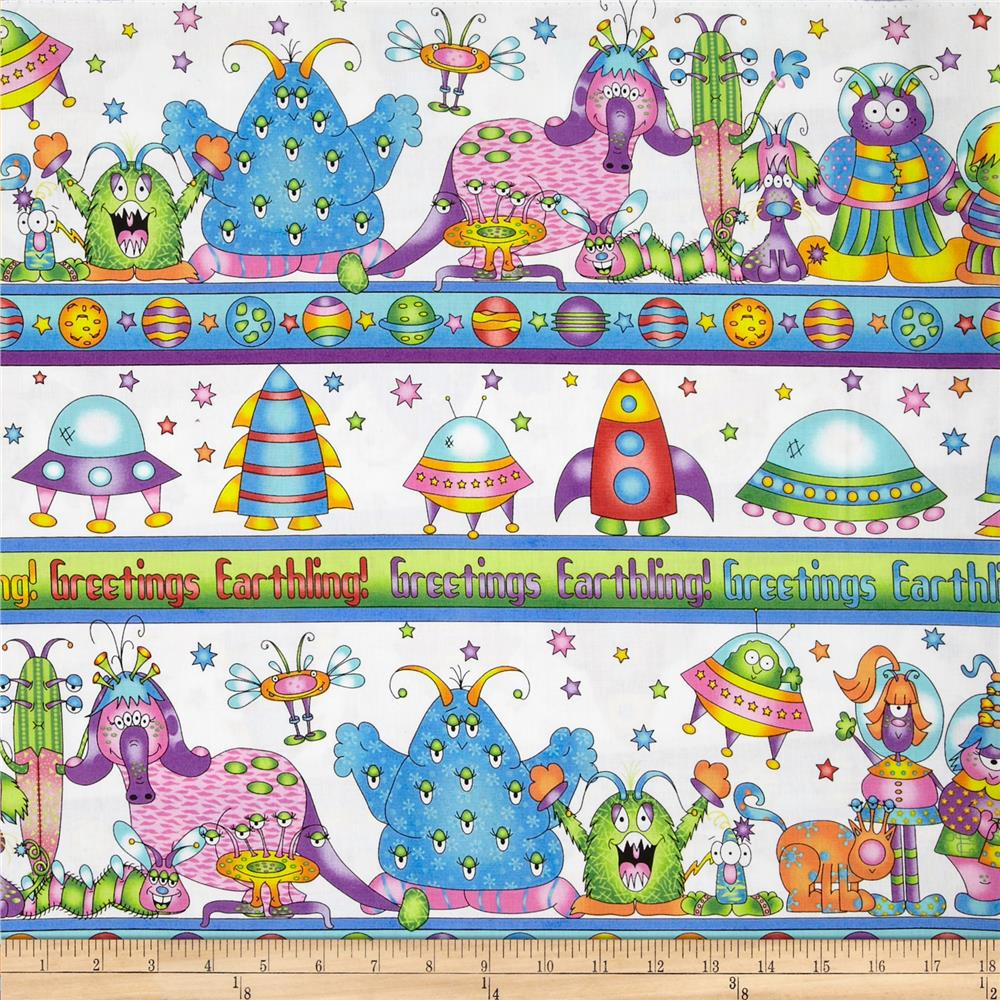 Welcome to my world alien border white discount designer for Alien print fabric