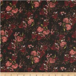 Crinkle Chiffon Floral Coral/Rust/Black