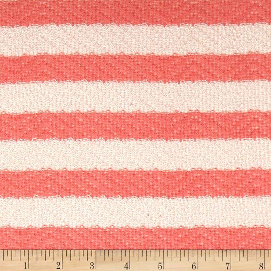 Lightweight Sweater Knit Medium Canteloupe Stripes on Ivory